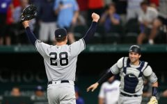 ARLINGTON, TEXAS - MAY 19:  Corey Kluber #28 of the New York Yankees celebrates a no-hitter with Kyle Higashioka #66 against the Texas Rangers at Globe Life Field on May 19, 2021 in Arlington, Texas. (Photo by Ronald Martinez/Getty Images)